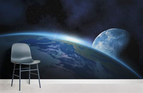 Earth Wall Mural earth and moon space wallpaper wall mural