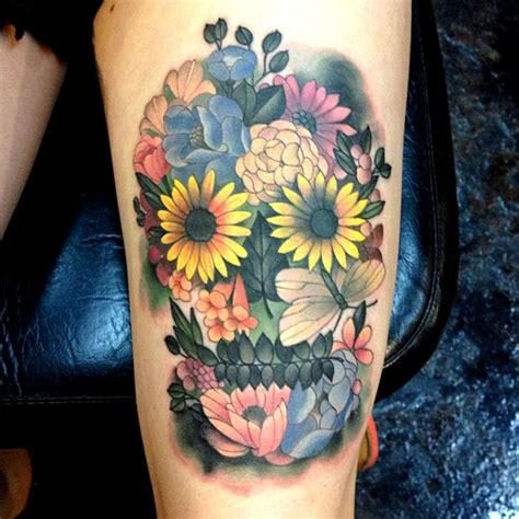skull with flowers tattoo designs skulls grace o malley and sugar skull on