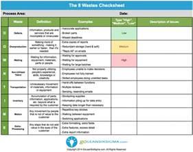 the 8 wastes checksheet goleansixsigma com