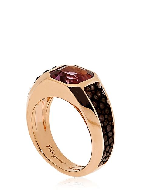 ferragamo galuchat jewellery collection ring in pink