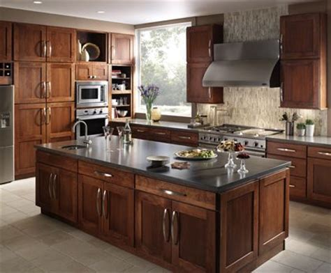 kitchen center island cabinets fieldstone milan cherry nutmeg center island quartz