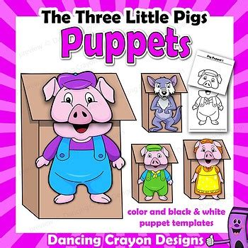 the three pigs puppet templates three pigs craft activitiy printable puppet