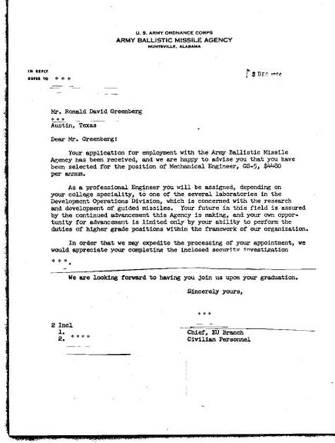 Appointment Letter Of Civil Engineer Army Ballistic Missile