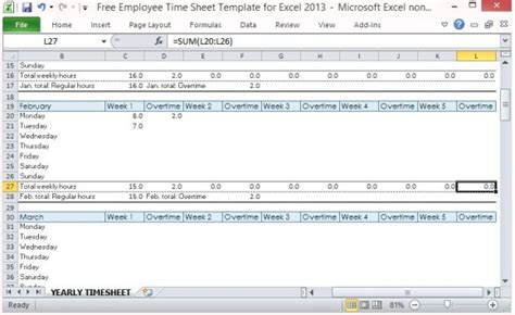 monthly time sheet by project