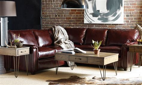 broyhill warren mahogany top grain leather sectional
