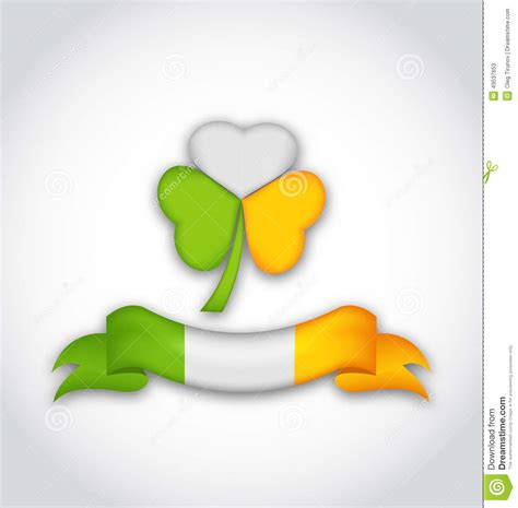s day colors shamrock and ribbon in traditional flag colors for