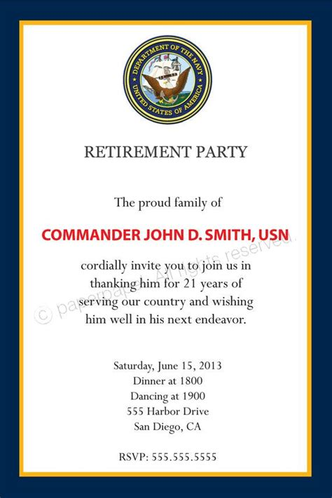 military retirement party invitation all by paperpapelshop