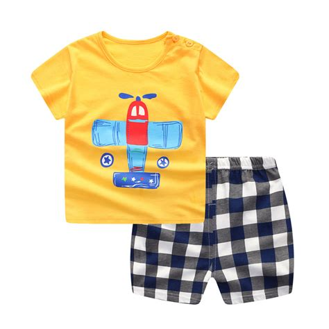 Aliexpress Buy Fashion Baby Clothing Aliexpress Buy Plaid Baby Boy Clothes Summer 2018 New Aircraft Baby Boy Clothing Set