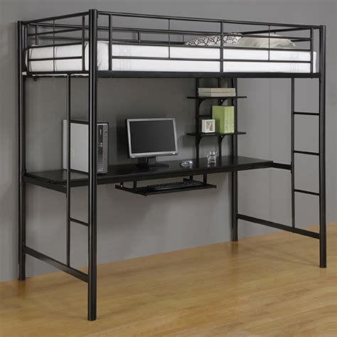 Loft Beds Computer Desk Walker Edison Metal Loft Bed With Computer Workstation Black Btozbl