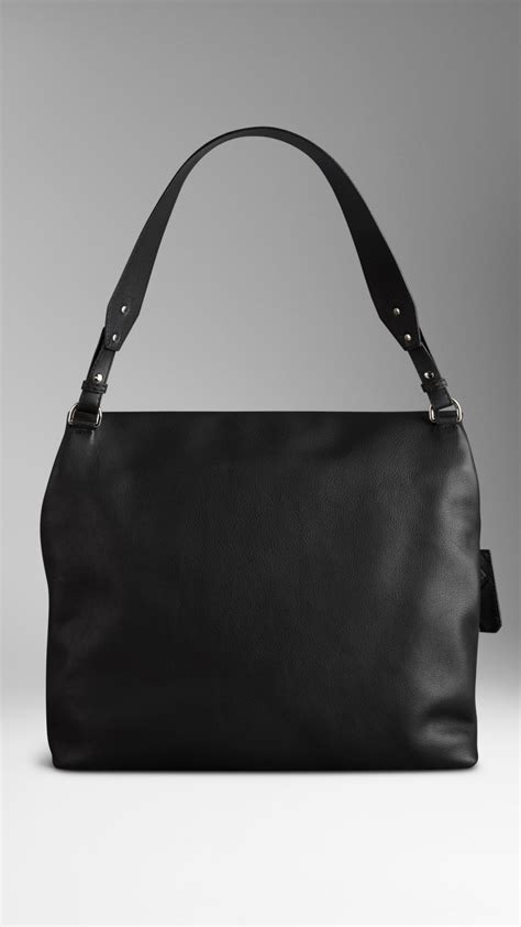 Burberry Studded Hobo by Burberry Large Studded Padlock Leather Hobo Bag In Black