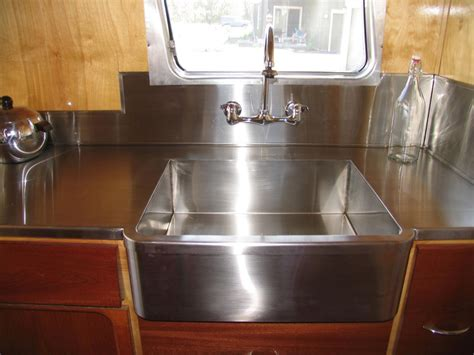 Kitchen Sink Trailer Stainless Steel Countertops Make For Easy Cleanup And Give Vintage Cers A High End Feel