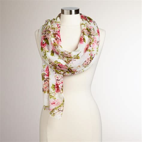 pink and green floral vintage scarf world market