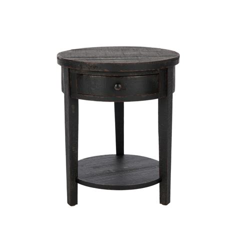 round black accent table shop safavieh american home distressed black birch round