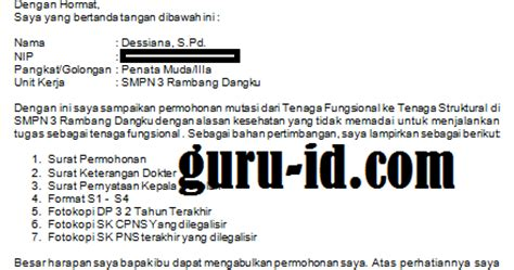 contoh surat permohonan mutasi guru dari tenaga fungsional
