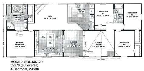 Double Wide Floor Plans 4 Bedroom 3 Bath Spacious Double 2 Bedroom House Plans One Level Doublewide