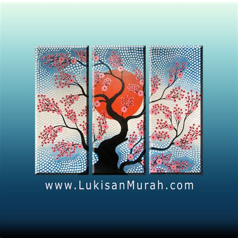 Lukisan Panel Dot Aborigin lm091 and the sun blue lukisanmurah