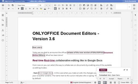 onlyoffice document editors version 3 6 onlyoffice