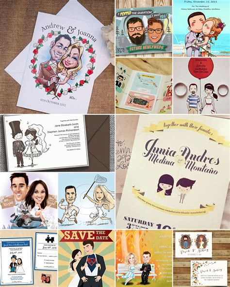 wedding invitation card caricature caricature wedding invitations and cards