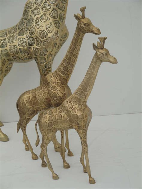 Giraffe Furniture by Brass Giraffe Family Sculpture For Sale At 1stdibs