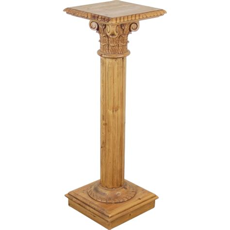 Column Pedestal Base Vintage Carved Pine Corinthian Column Pedestal Sculpture