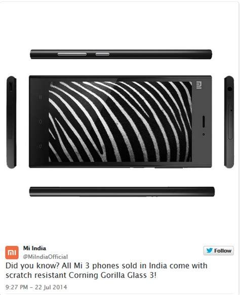 Hp Xiaomi Gorilla Glass xiaomi confirmed the mi3 smartphone in india sports