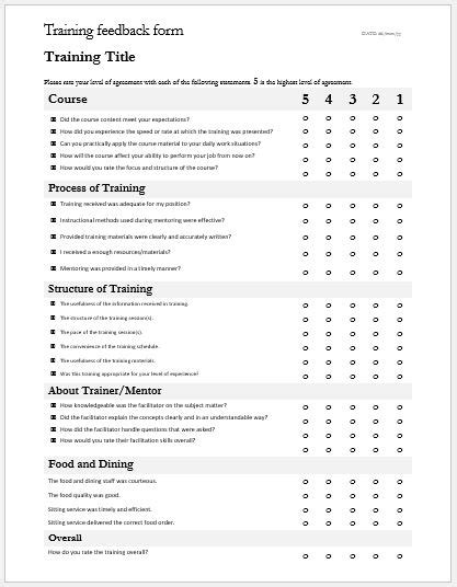 training feedback evaluation forms for ms word word