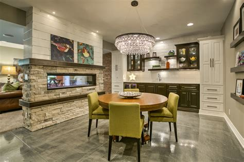 Basement Dining Room by Colorful Basement Remodel Transitional Dining Room