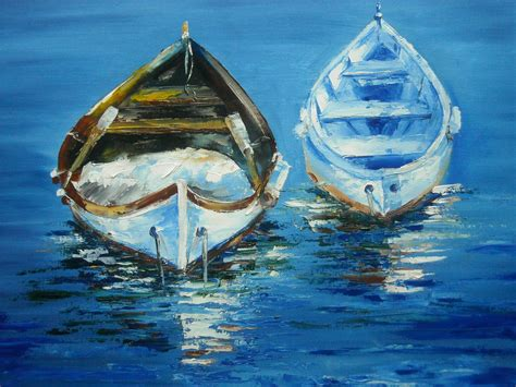 boat oil painting palette knife oil painting quot boats quot by lana kanyo youtube