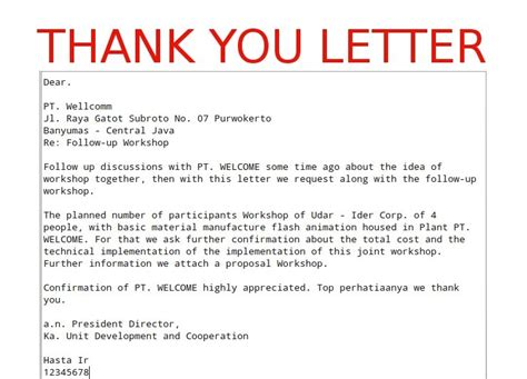 business thank you letter sle template
