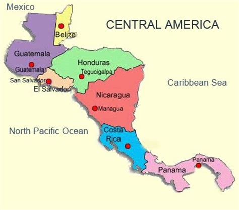 map of central and south america with capitals in central america the world central america