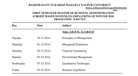 Nagpur Mba Syllabus 2016 by M B A Cbs 1st Sem Winter 2016 Time Table Nagpur