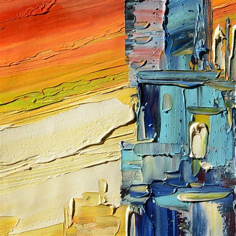 modern painting city sunset modern abstract painting original abstract