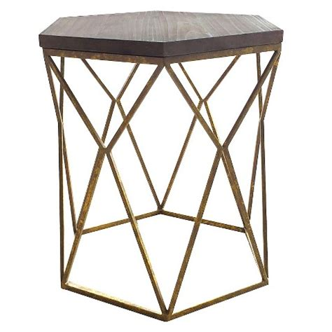 Gold End Table Target by Chester End Table Gold Metal Hexagon Threshold Target