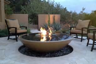 Concrete bowl fire pit fireplace design ideas