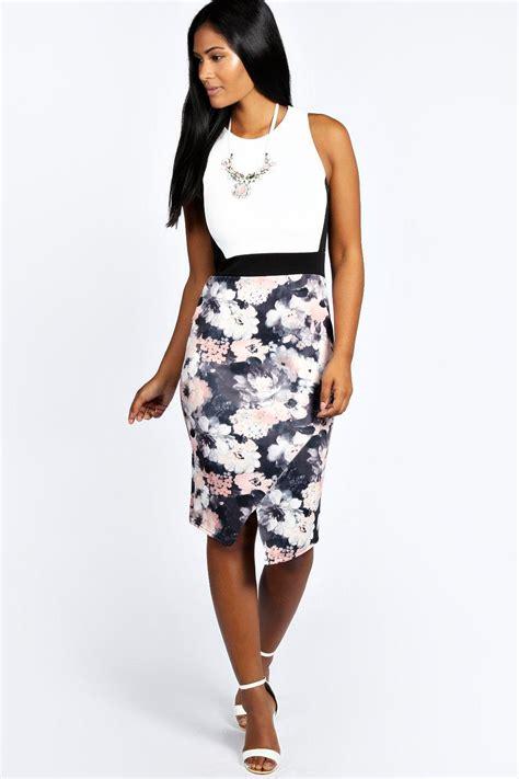 Flowery Bodycon Midi Dress talia floral contrast asymetric midi bodycon dress at