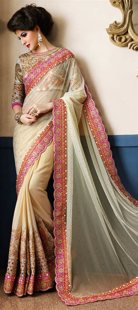 191019: Beige and Brown color family Bridal Wedding Sarees