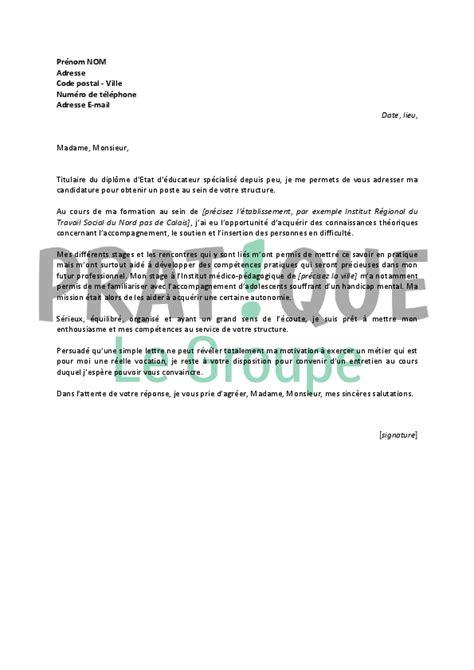 Exemple De Lettre De Motivation Moniteur Ducateur lettre de motivation pour un emploi d 233 ducateur sp 233 cialis 233