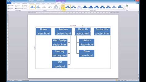 smartart templates for word creating a sitemap using microsoft word smartart youtube