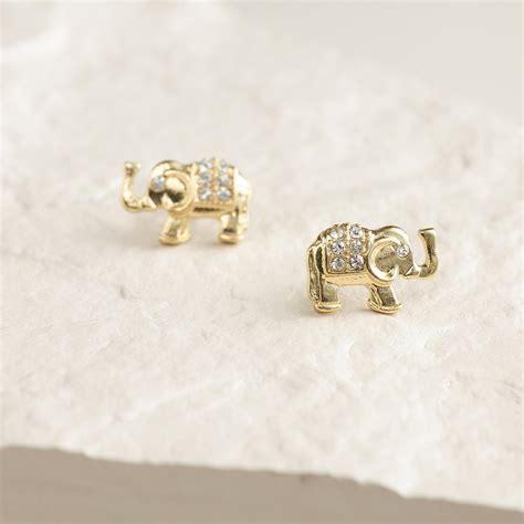 gold elephant stud earrings world market