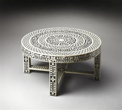 amanda black bone inlay cocktail table eclectic coffee