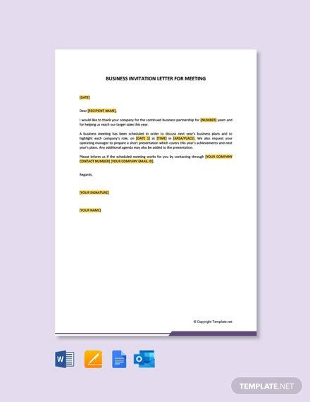 business meeting invitation letter template word