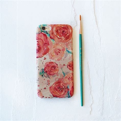 coral tea rose watercolor cell phone case phone cases