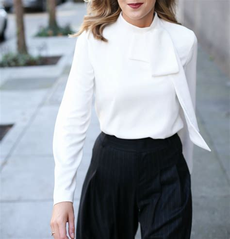 White High Neck Blouse With Bow by Pinstripe Wideleg Trousers Tie Neck Blouse Memorandum