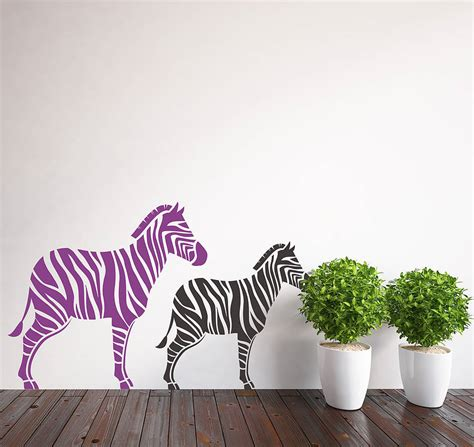 zebra wall stickers pair of zebra wall stickers by snuggledust studios notonthehighstreet