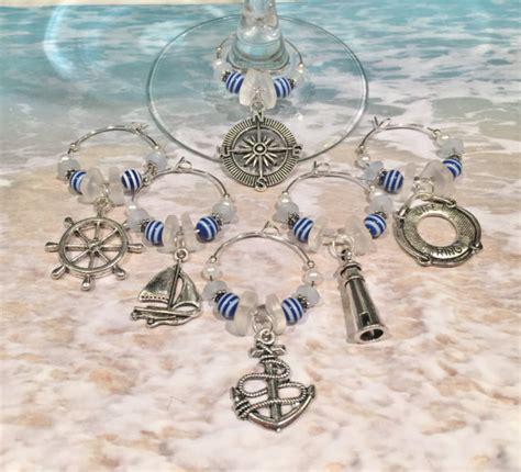 nautical barware 6 nautical wine glass charms wine glass favors barware