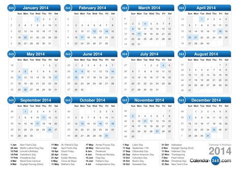 2014 Calendar With Holidays Free Printable Calendar 2014 With Holidays Www