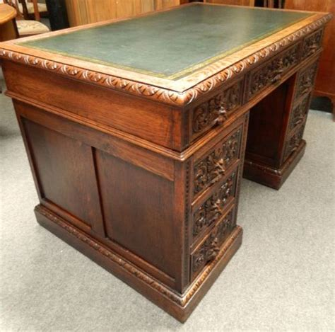 Green Desk L Antique by Carved Oak Green Desk 228908 Sellingantiques Co Uk