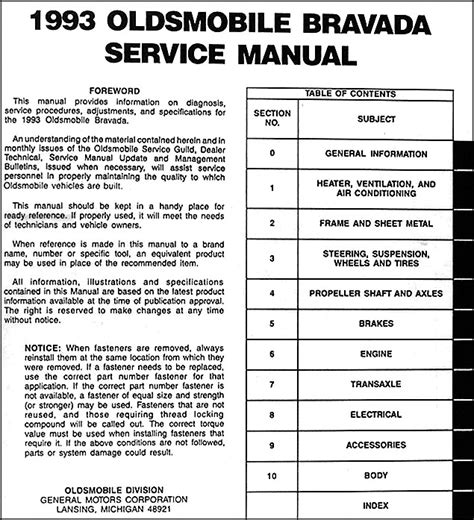 service manual exploded view of 1993 oldsmobile bravada manual gearbox service manual 1993