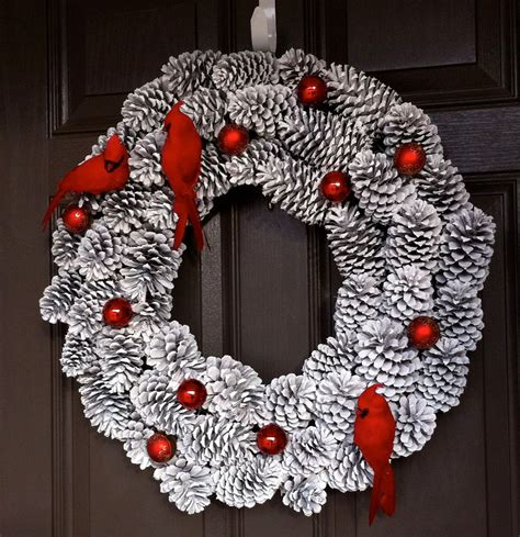 christmas wreath pine cone wreath holiday wreath bird