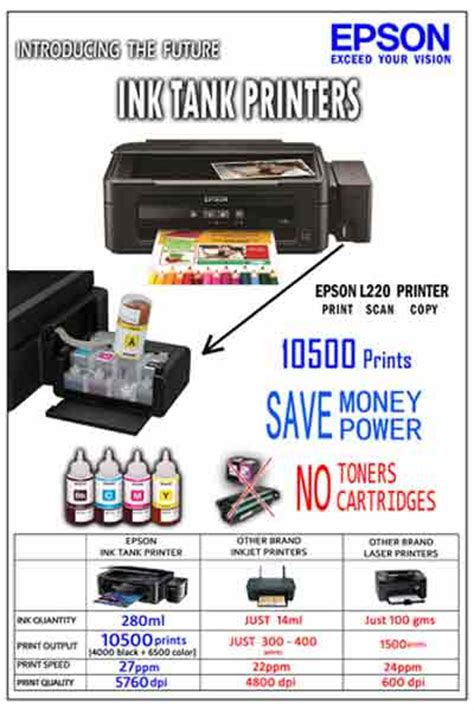 Printer Epson Seri L220 epson l220 inkjet all in one color printer with integrated ink tanks